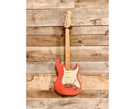 MAE WEST MESTR - Guitare électrique type Strat Vintage, corps aulne massif, manche et touche érable, 3 micros simples, Rouge Fie