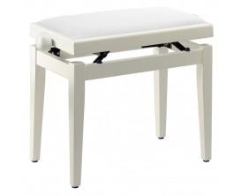 STAGG - PB05 WHM VWH - Banquette de piano, blanc mat, avec pelote en velours blanc