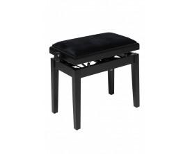 STAGG - PBH 390 BKM VBK - Banquette de piano, hydraulique, noir mat avec pelote en velours noir ignifugée