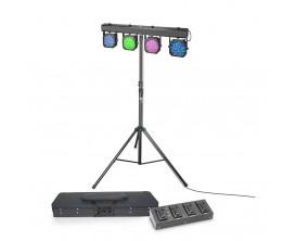 CAMEO MULTI PAR 1 SET - Set de projecteurs LED 432x10 mm avec valise de transport, pied et pédalier 4 switchs
