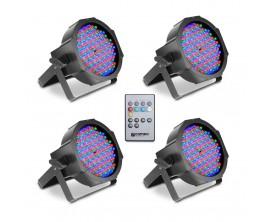 CAMEO FLAT PAR RGB 10 IR SET - Set de 4 Projecteur FLAT PAR LED Spot 144 x 10 mm RGB, boîtier noir avec Télécommande infrarouge