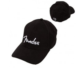 FENDER 9106000506 - Fender Logo Stretch Cap, Black, L/XL