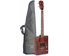 J.N. GUITARS Hogshead - Cigar Box Guitar électrique, 4 cordes, table en épicéa massif, Micro P-90, série Cask (en housse)