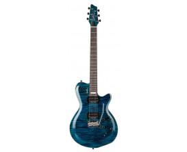 GODIN LGXT-SA Trans Blue Flame AAA - Guitare 3 voies (Micros magnétiques, piezzo et SA Synth Access), corps érable table érable