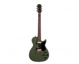 GODIN Summit Classic SG MG HB - Guitare type LP, Corps Tilleul, Manche érable, Touche palissandre, 2 Humbuckers, Mat Green semi