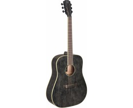 J.N. GUITARS YAK-D - Guitare acoustique dreadnought, série Yakisugi, Corps acajou, Table acajou massif, Finition Doghair