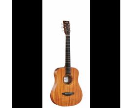 VEELAH TOGO-M - Guitare Acoustique de voyage compacte, Corps Acajou, Table acajou massif, Naturel open pores (Housse fournie)