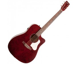 ART&LUTHERIE Americana QIT CW Tennessee Red - Guitare Dreadnought électro-acoustique QIT, pan coupé, Finition Tennessee Red