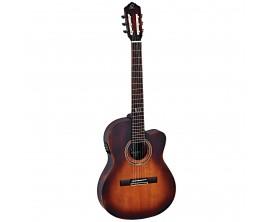 ORTEGA - DS Suite-CE - Guitare Classique 4/4 électro-acoustique, table massive épicéa, Dos et éclisses Acajou, Finition Tobacco
