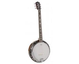 RICHWOOD RMB-906 - Banjo Guitare 6 cordes, Caisse acajou, Manche acajou touche noyer du Perou, Cerclage aluminium 24 tirants, Pe