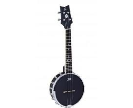 ORTEGA OUBJ100-SBK - Banjo Ukulélé 4 cordes Noir Satiné, en gig bag