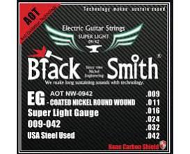 BLACK SMITH AOT NW-0942 - Jeu de cordes électrique longue durée, coating Nano Carbon, 9/42
