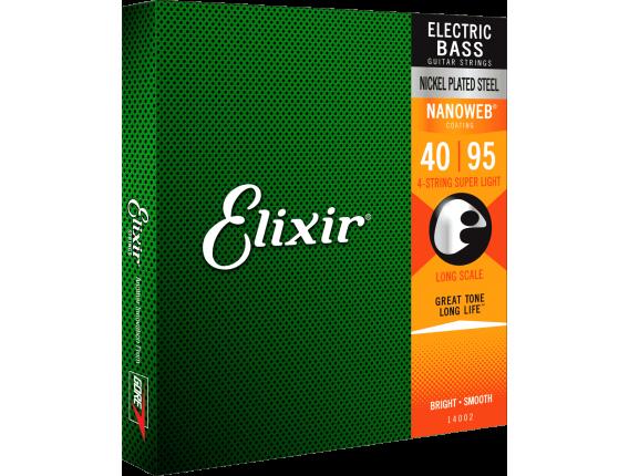 ELIXIR 14002 - Jeu de 4 cordes basse Nanoweb, Longscale, tirant Extra Light 40-60-75-95
