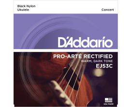 D'ADDARIO EJ53C Jeu cordes ukulélé Pro Arté Nylon Rectifié - Concert/Nylon Noir 28-32-36-28