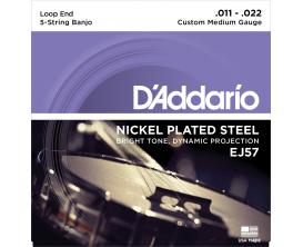 D'ADDARIO EJ57 Jeu Banjo Custom Med /5c-Plaqué Nickel 11-22