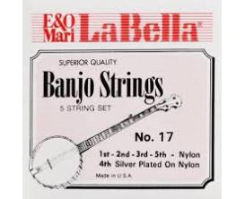 LA BELLA L-17 - Jeu de cordes Nylon plaqué argent pour banjo 5 cordes classique ou menestrel
