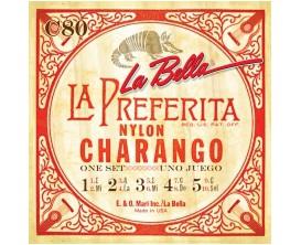 LA BELLA LC-80 - Jeu de 8 cordes en nylon pour Charango 019-030